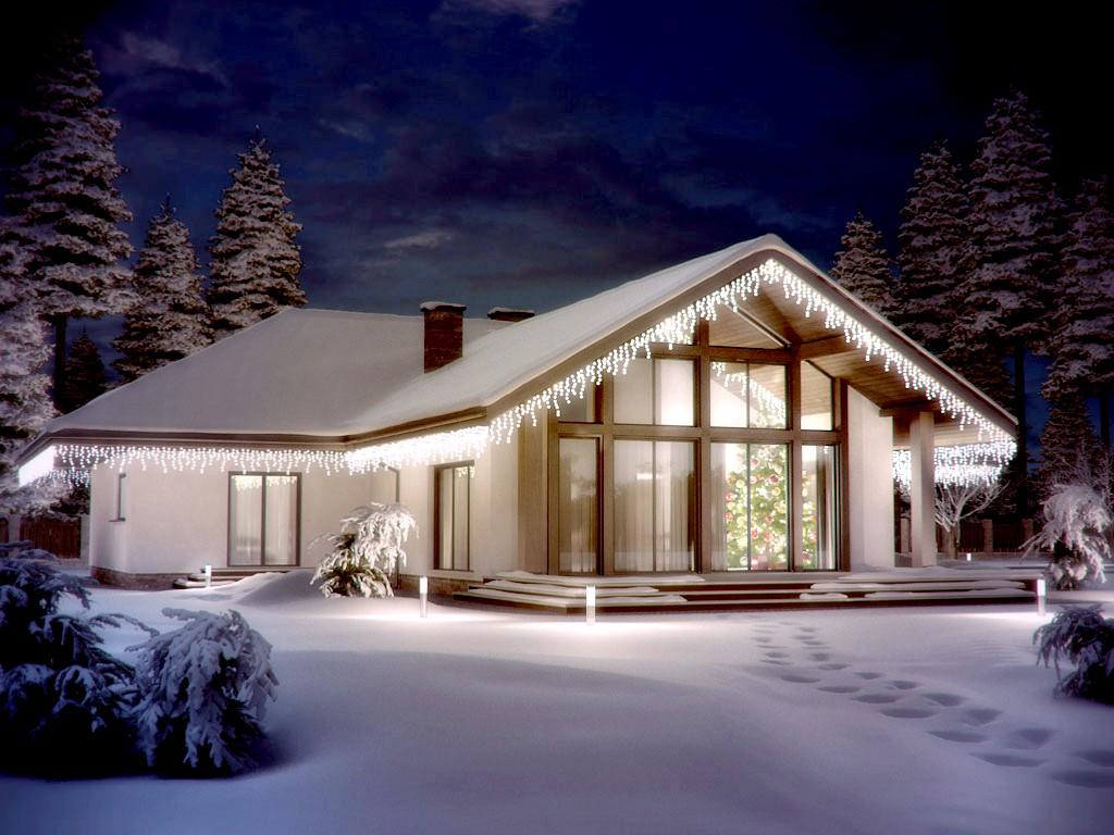 вот презентация фото одноэтажных зимних коттеджей идет